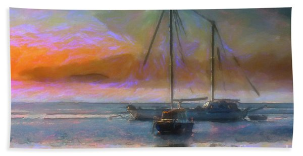 Sunrise With Boats Hand Towel