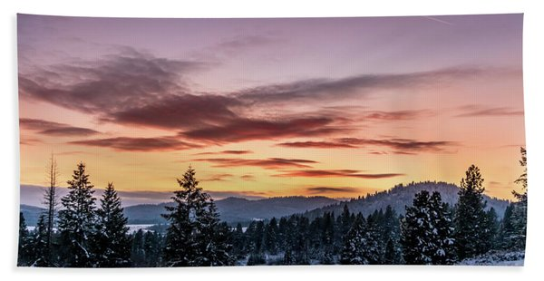 Sunset And Mountains Hand Towel
