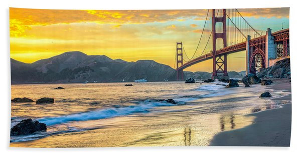 Hand Towel featuring the photograph Sunset At The Golden Gate Bridge by James Udall