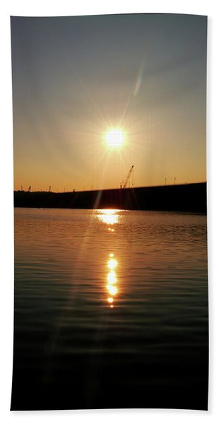 Sunset At Wolf Creek Dam Hand Towel