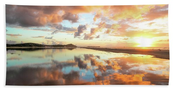 Sunset Beach Reflections Bath Towel