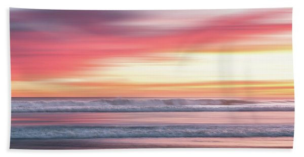 Bath Towel featuring the photograph Sunset Blur - Pink by Patti Deters