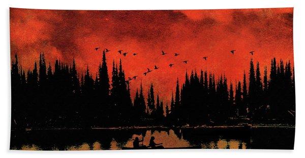 Sunset Flight Of The Ducks Bath Towel