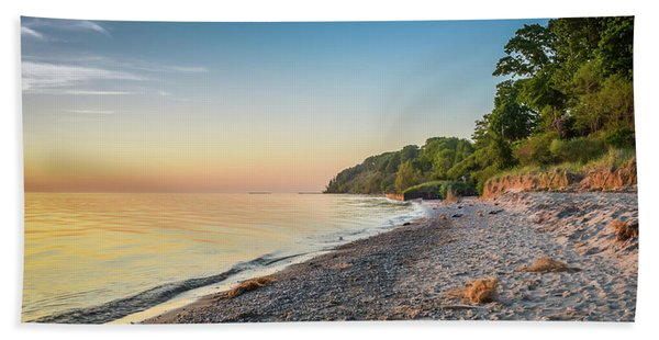 Sunset Glow Over Lake Hand Towel