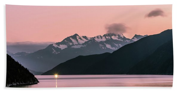 Sunset In Alaska Hand Towel