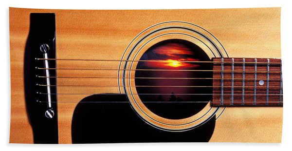 Sunset In Guitar Hand Towel