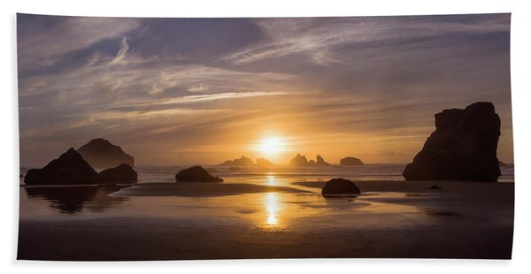 Sunset On Bandon Beach Hand Towel