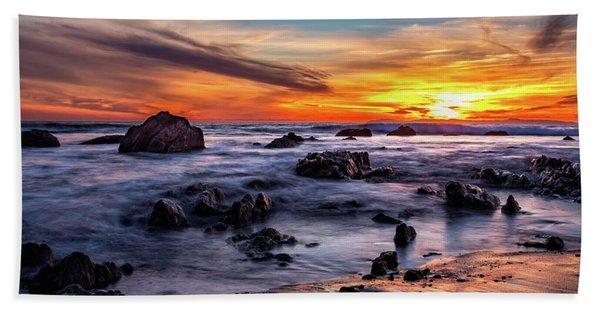 Sunset On The Rocks Hand Towel