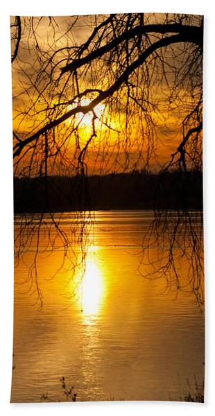 Sunset Over The Lake Hand Towel