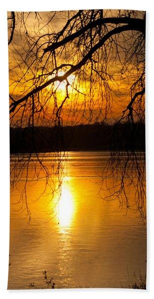 Sunset Over The Lake Bath Towel