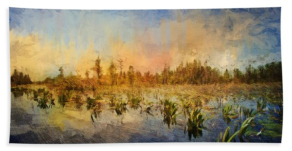 Sunset Over The Okefenokee Hand Towel