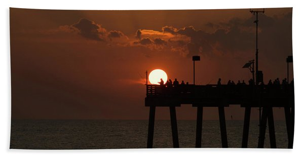 Sunset Pier 2 Venice Florida Hand Towel