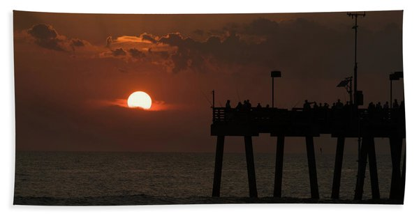 Sunset Pier Venice Florida Hand Towel