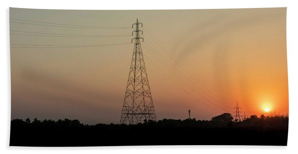 Sunset Pylons Hand Towel