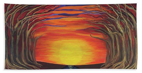 Treetop Sunset River Sail Bath Towel