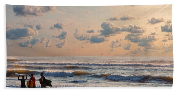 Surfing At Sunrise On The Jersey Shore Bath Towel