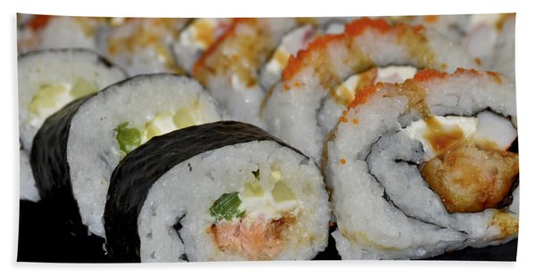 Bath Towel featuring the photograph Sushi Rolls From Home by Carolyn Marshall