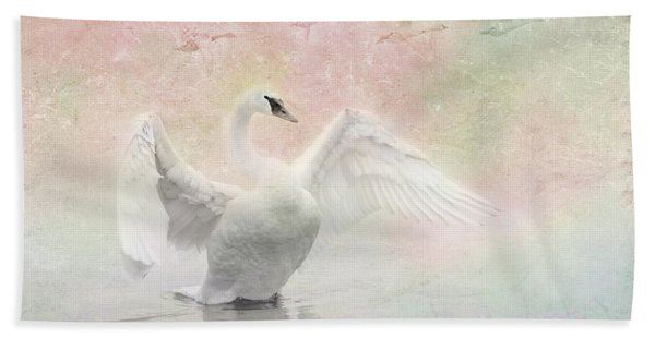 Bath Towel featuring the photograph Swan Dream - Display Spring Pastel Colors by Patti Deters