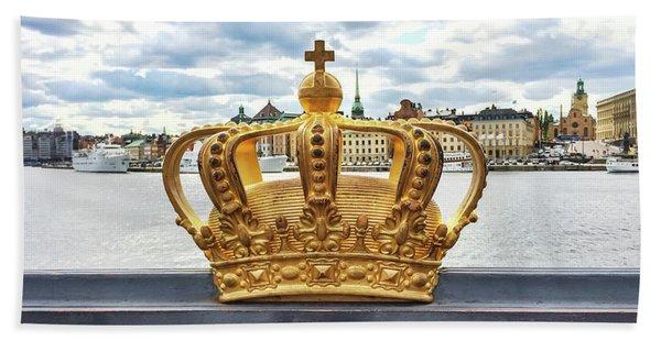 Swedish Royal Crown On A Bridge In Stockholm Bath Towel