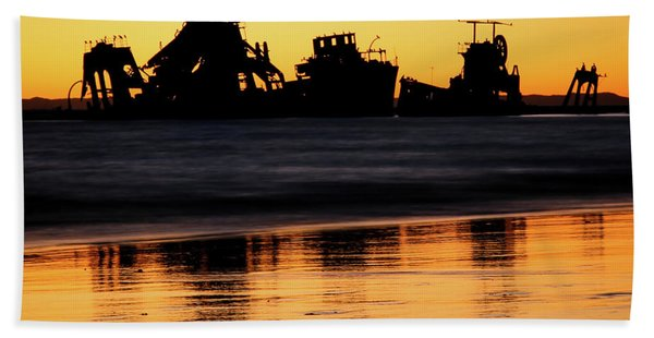 Tangalooma Wrecks Sunset Silhouette Hand Towel