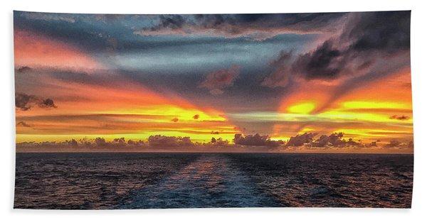 Tasman Sea Sunset Bath Towel