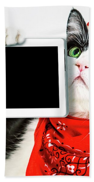 Technology Christmas Cat Bath Towel
