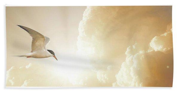 Tern In Flight, Spiritual Light Of Dusk Bath Towel