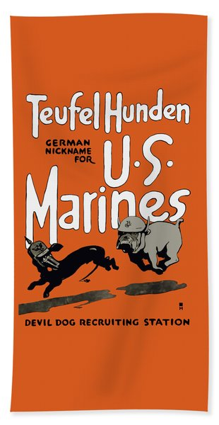 Teufel Hunden - German Nickname For Us Marines Hand Towel
