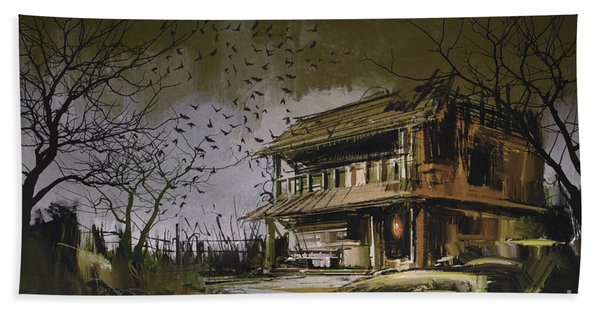 Hand Towel featuring the painting The Abandoned House by Tithi Luadthong