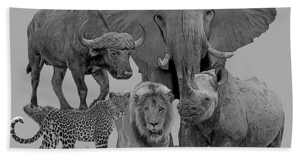 Bath Towel featuring the digital art The Big Five by Larry Linton