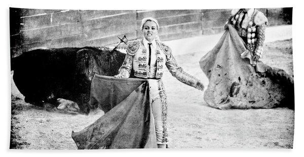 The Blond, The Bull And The Coup De Gras Bullfight Bath Towel