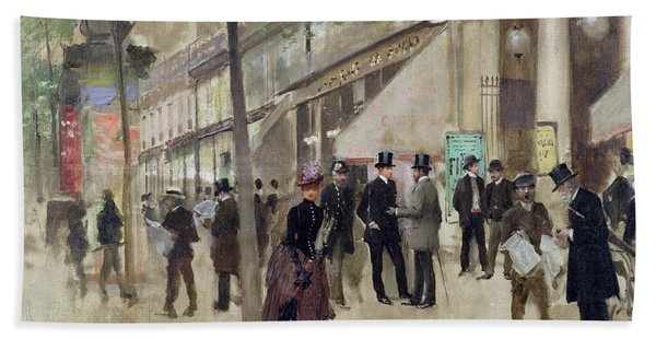 The Boulevard Montmartre And The Theatre Des Varietes Bath Towel