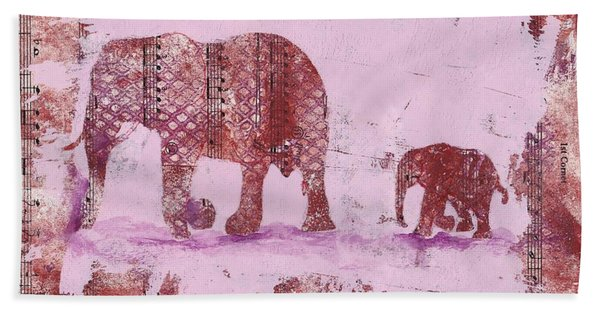 Hand Towel featuring the mixed media The Elephant March by Ruth Kamenev