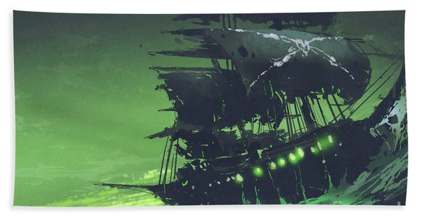 Bath Towel featuring the painting The Flying Dutchman by Tithi Luadthong