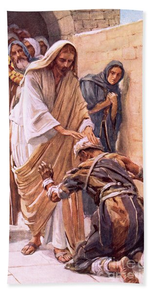 The Healing Of The Leper Hand Towel