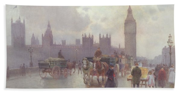 The Houses Of Parliament From Westminster Bridge Hand Towel