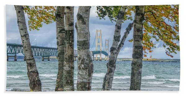 The Mackinaw Bridge By The Straits Of Mackinac In Autumn With Birch Trees Bath Towel