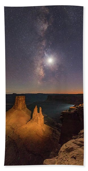 The Milky Way And The Moon From Marlboro Point Bath Towel