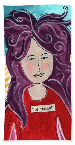 The Not Today Fairy- Art By Linda Woods Bath Towel