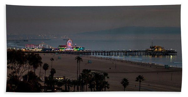 The Pier After Dark Hand Towel