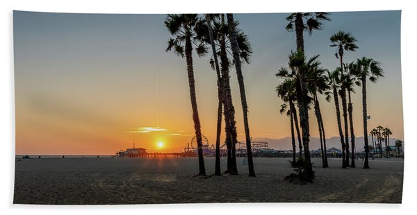 The Pier At Sunset Hand Towel