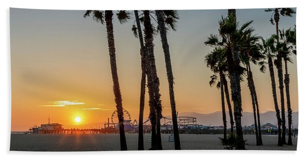 The Pier At Sunset - Square Hand Towel
