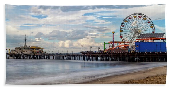 The Pier On A Cloudy Day Hand Towel