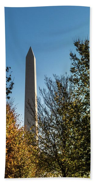 The Washington Monument In Fall Hand Towel