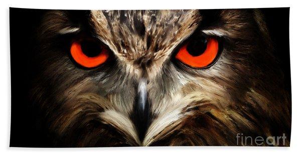 The Watcher - Owl Digital Painting Bath Towel