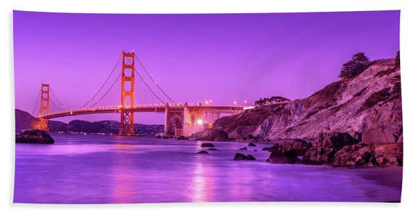 Golden Gate Bridge At Night Hand Towel