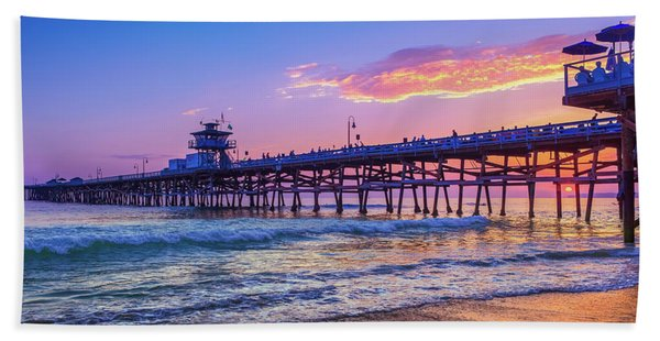 There Will Be Another One - San Clemente Pier Sunset Hand Towel