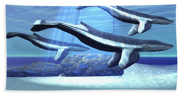 Three Blue Whales Move Hand Towel