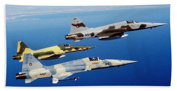 Three F-5e Tiger II Fighter Aircraft Bath Towel