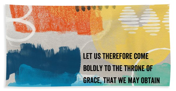 Throne Of Grace- Contemporary Christian Art By Linda Woods. Bath Towel
